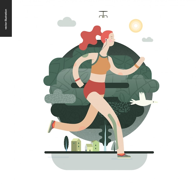 Runners with girl exercising Premium Vector