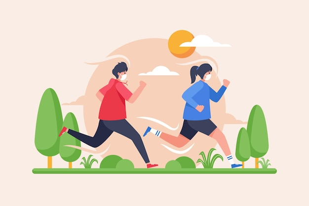 Runners with medical masks Premium Vector
