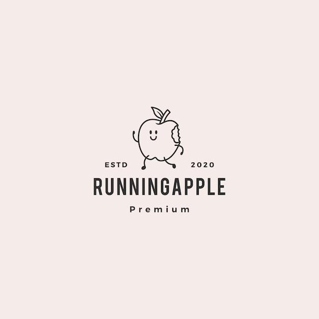 Running apple logo hipster vintage retro vector icon cartoon mascot character illustration Premium Vector