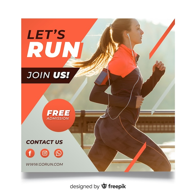 Running athlete banner with photo Free Vector