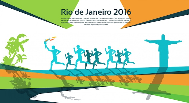 Running athlete group with fire torch Premium Vector