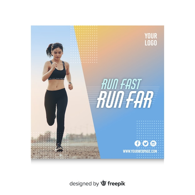 Running banner or square flyer template with photo of woman Free Vector