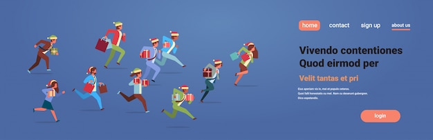 Running business people hold present gift box new year christmas holidays celebration Premium Vector