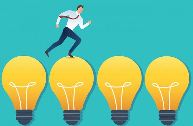 Running businessman on light bulb idea concept Premium Vector