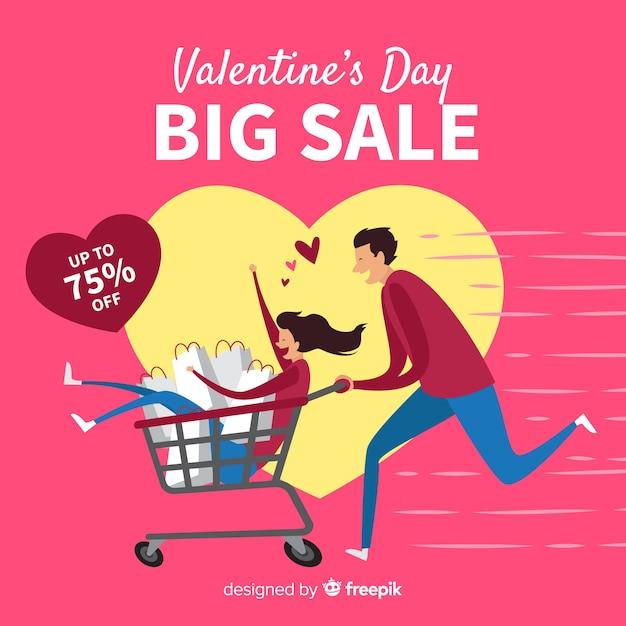 Running couple valentine sale background Free Vector