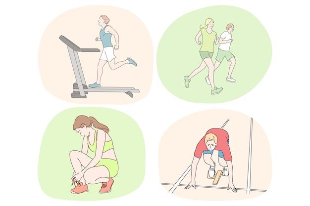 건강한 활동적인 라이프 스타일 스포츠 육상 운동 실행 프리미엄 벡터