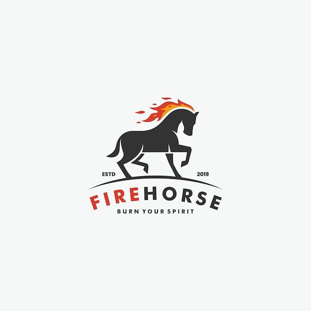 Бегущая лошадь с огненным огнем логотип Premium векторы
