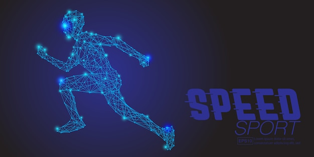 Running human from abstract polygonal blue Premium Vector