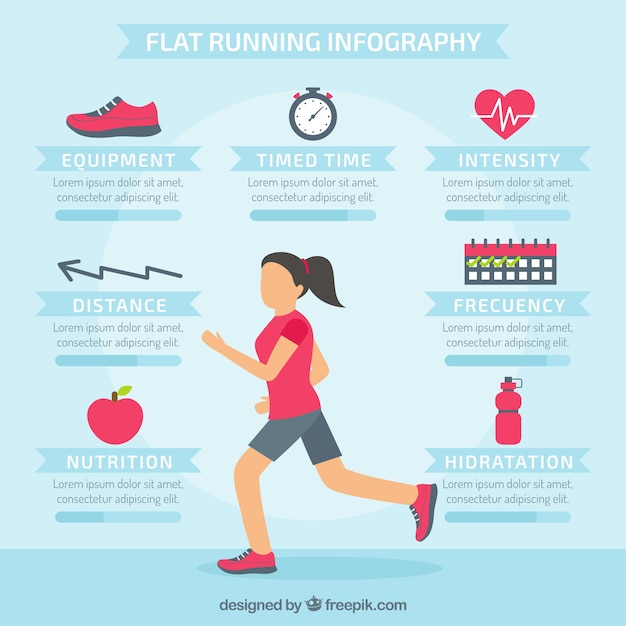 Running infographics in flat style Free Vector