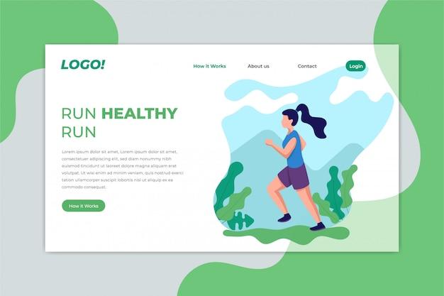 Running jogging sport landing page Premium Vector