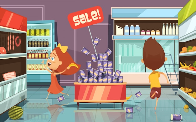 Running kids in a shop with mess food and drinks cartoon vector illustration Free Vector