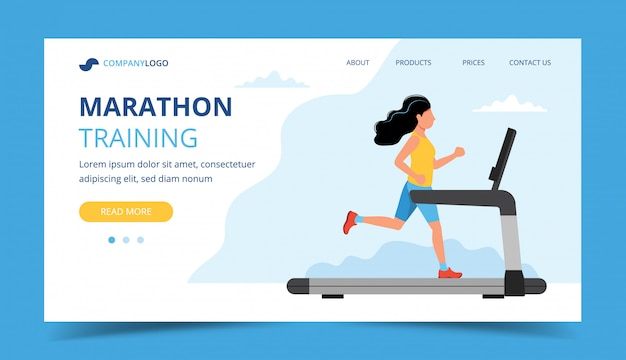 Running landing page template. woman running on the treadmill. Premium Vector
