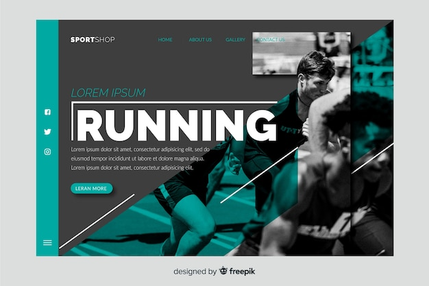 Running landing page with photo Free Vector