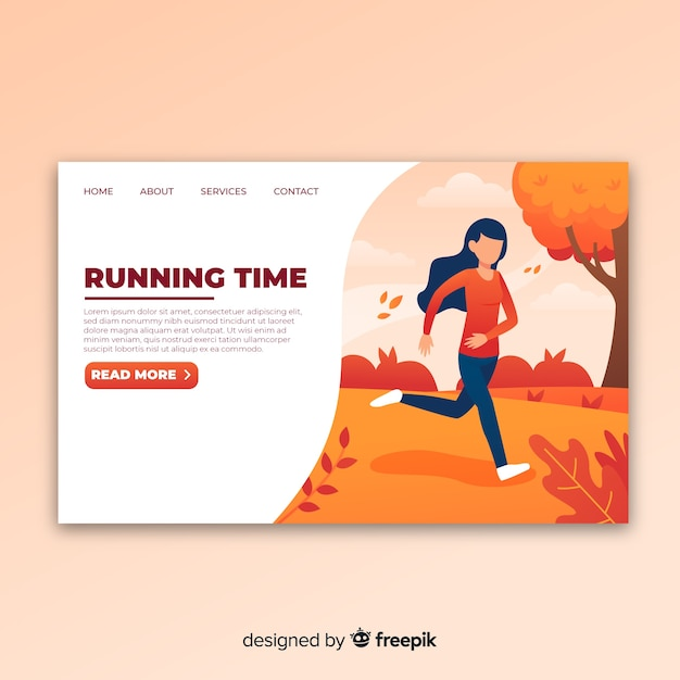 Running landing page Free Vector