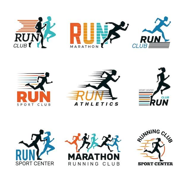 ランニングロゴ。マラソンクラブバッジスポーツシンボル靴と足ジャンプランニング人ベクトルコレクション。スポーツスピード、フィットネスランナーの距離、クラブランのイラスト Premiumベクター