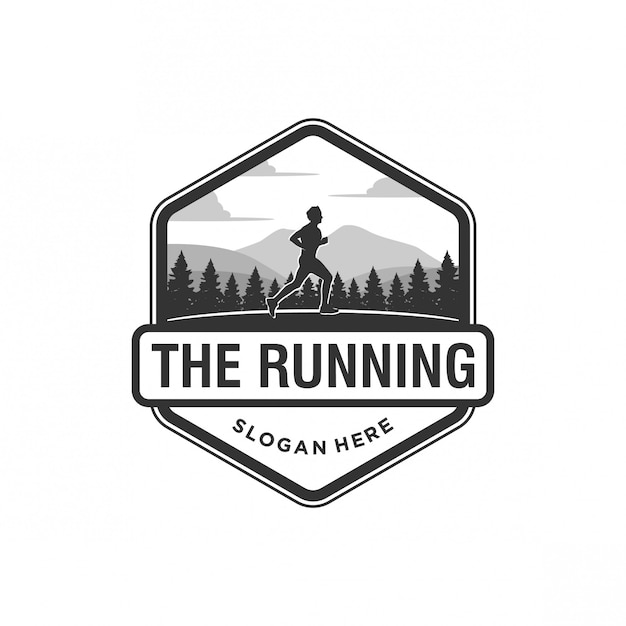 The running logo Premium Vector