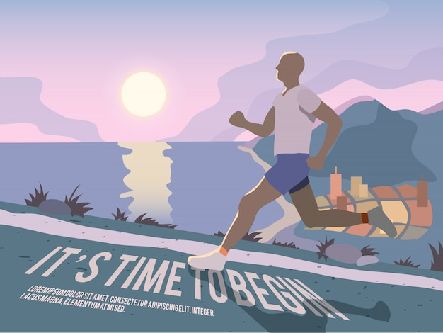Бегущий человек фитнес плакат Бесплатные векторы
