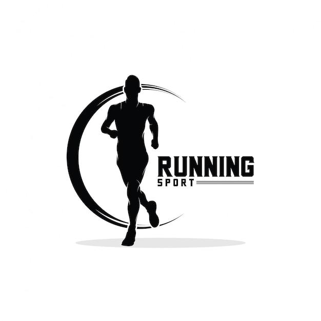 走る男のロゴデザインのインスピレーション Premiumベクター