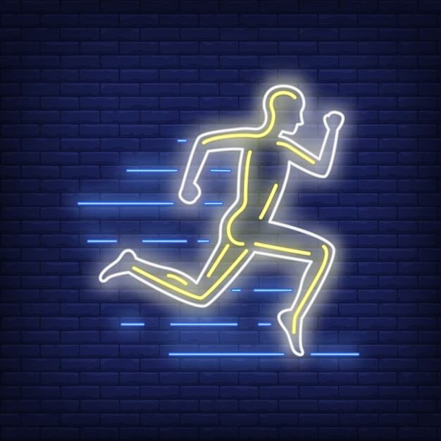 Running man neon sign Free Vector