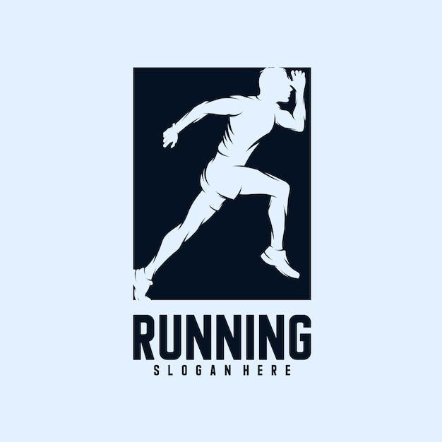 ランニングマンのシルエットのロゴデザイン Premiumベクター