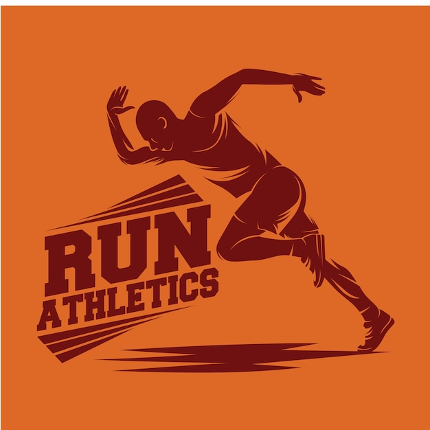 Running and marathon logo Premium Vector