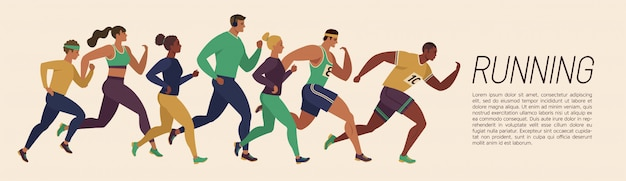 Running men and women sports banner. Premium Vector