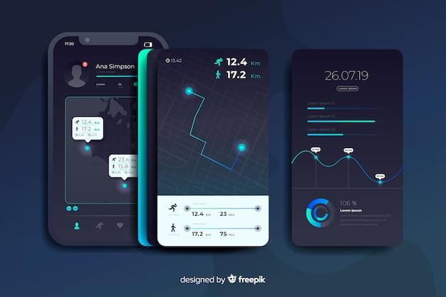 Running mobile app infographic flat design Free Vector