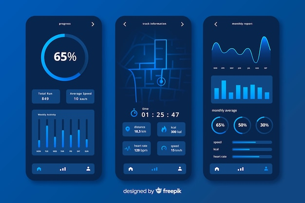 Running mobile app infographic flat style Vector | Free Download