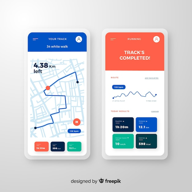 Running mobile app infographic flat style Free Vector