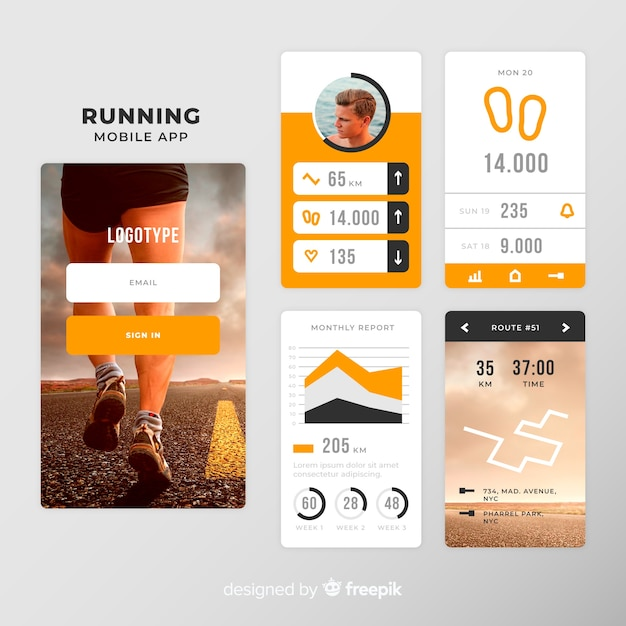 Running mobile app infographic template Free Vector