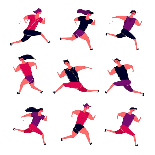 Running people group in motion. jogging men women training outdoor. runners prepare for sport competition marathon health running in morning Free Vector