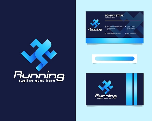 Running people logo with stationery business card Premium Vector