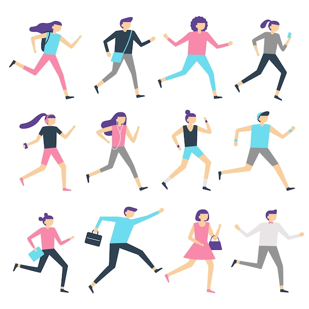 Running people. man and woman run, jogging workout and athletic sport runners. sports exercising isolated flat vector illustration Premium Vector