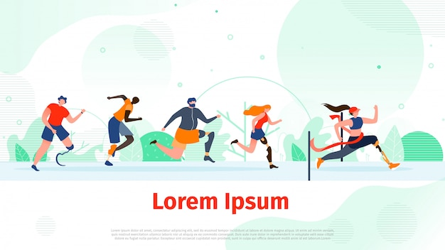 Running people with disability flat vector banner Premium Vector