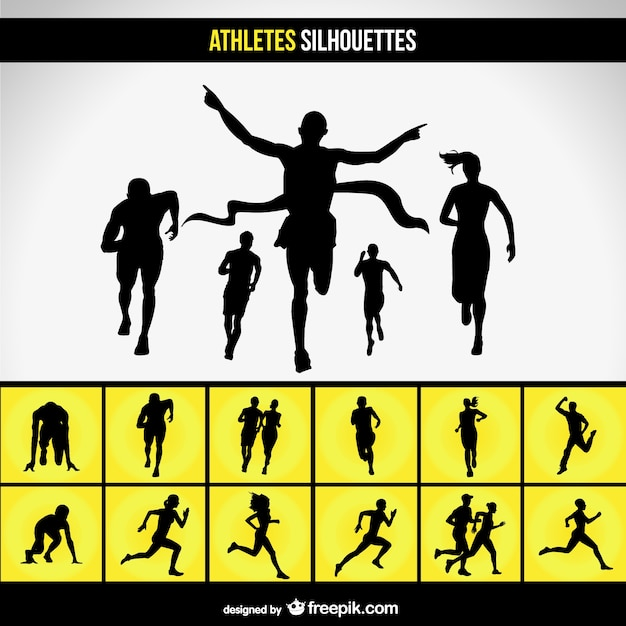 Running race silhouette set Free Vector