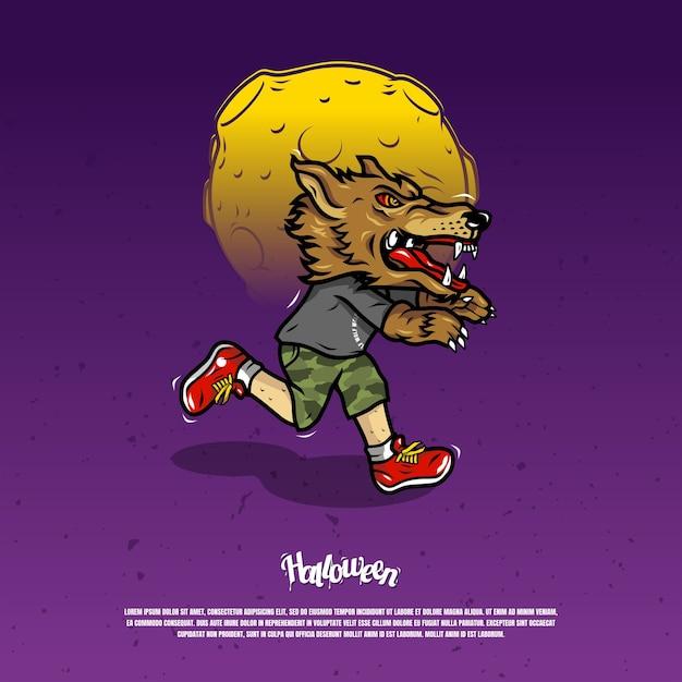 狼男のマスクのイラストが怖い Premiumベクター