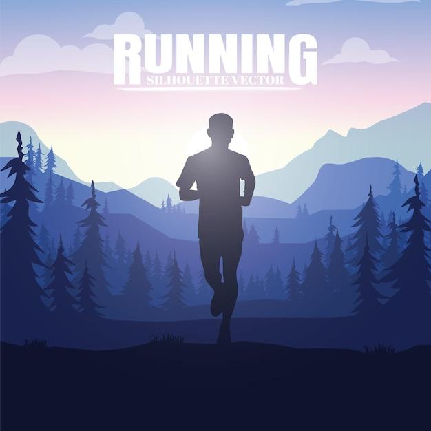 Бегущие силуэты. векторная иллюстрация, бег по пересеченной местности, марафонец. Premium векторы