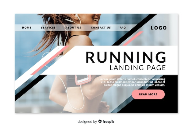 Running sport landing page Free Vector