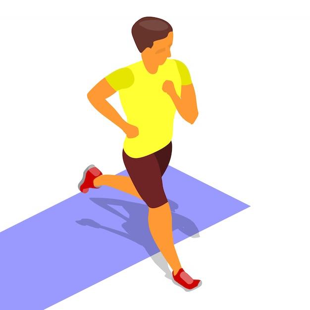Running sprinter isometric Premium Vector