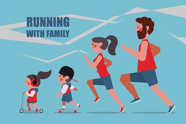 Running with family Character people design flat style Free Vector
