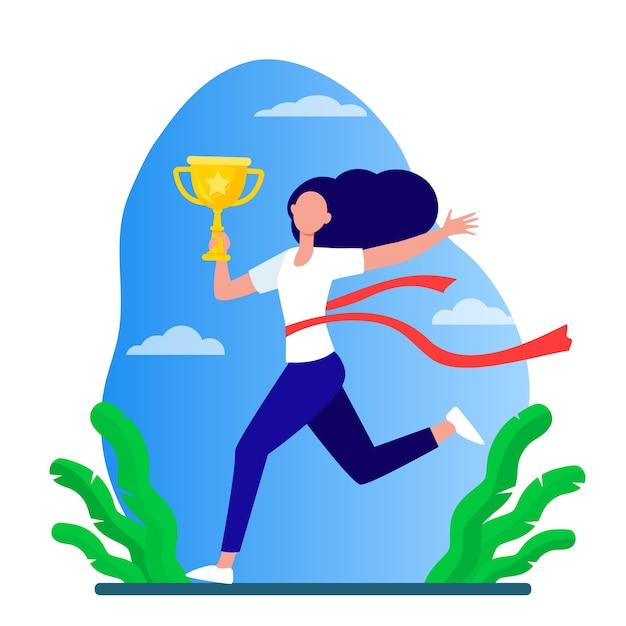 경주 우승을 실행하는 여자. 마라톤 지도자 지주 컵, 빨간 리본 평면 벡터 일러스트와 함께 선을 넘어. 경쟁, 상금, 트로피 무료 벡터