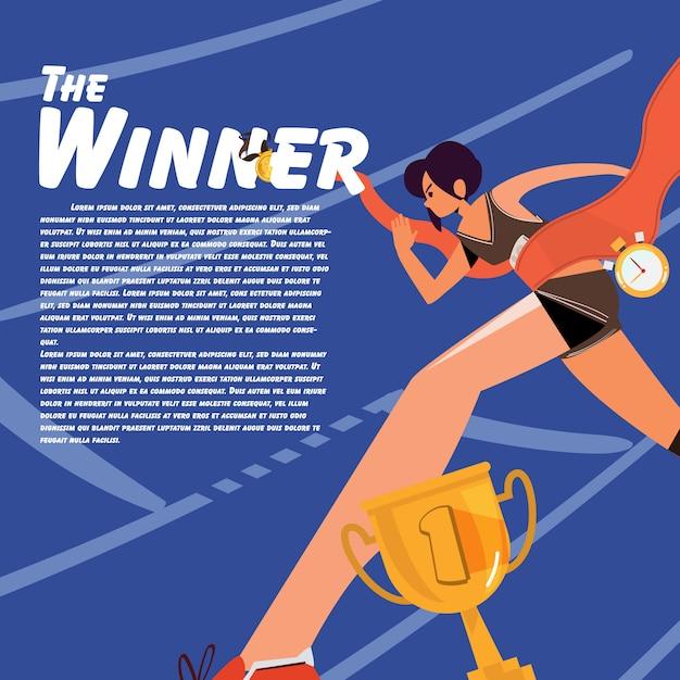 Running women at finish line  illustration Premium Vector