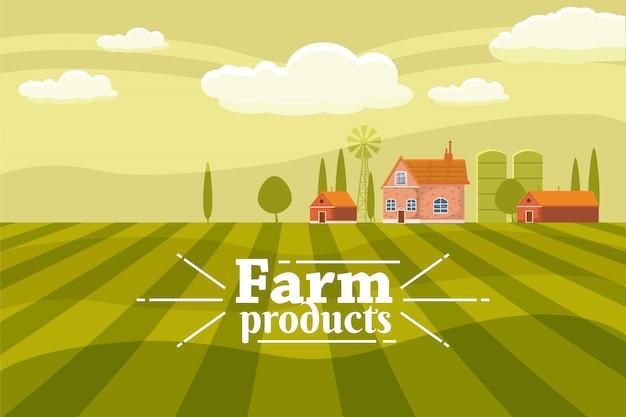 Rural cute landscape with farm. Premium Vector