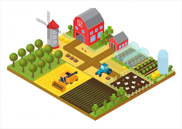 Rural farm 3d isometric template concept with mill, garden park, trees, agricultural vehicles, farmer house and greenhouse game or app illustration. Premium Vector