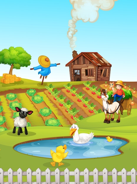 A rural farmland landscape Free Vector