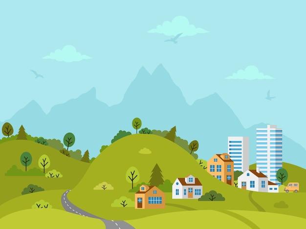 Сельский холмистый пейзаж с домами, зданиями, зелеными холмами, деревьями и дорогой. плоский дизайн, иллюстрация. Premium векторы