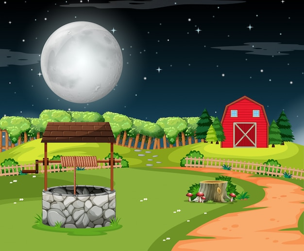 A rural house scene Free Vector