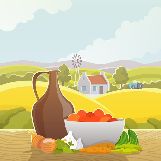 Rural landscape abstract illustration poster Free Vector