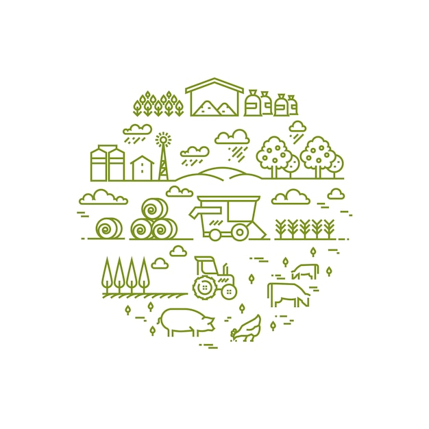 Rural landscape and agriculture farming thin line icons Premium Vector