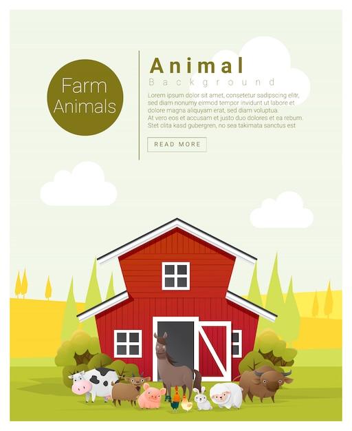 Rural landscape and farm animal background Premium Vector